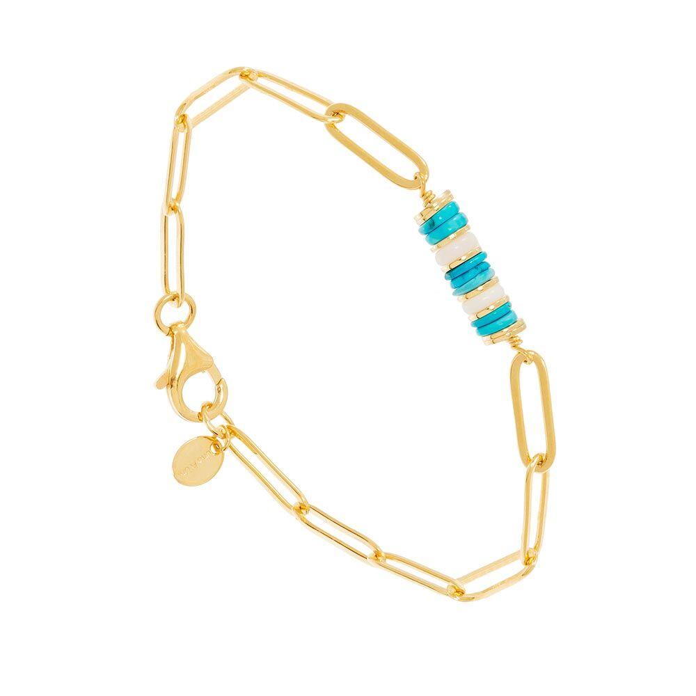 Jollia Bracelet maillons pierres turquoise (doré) - Une A Une