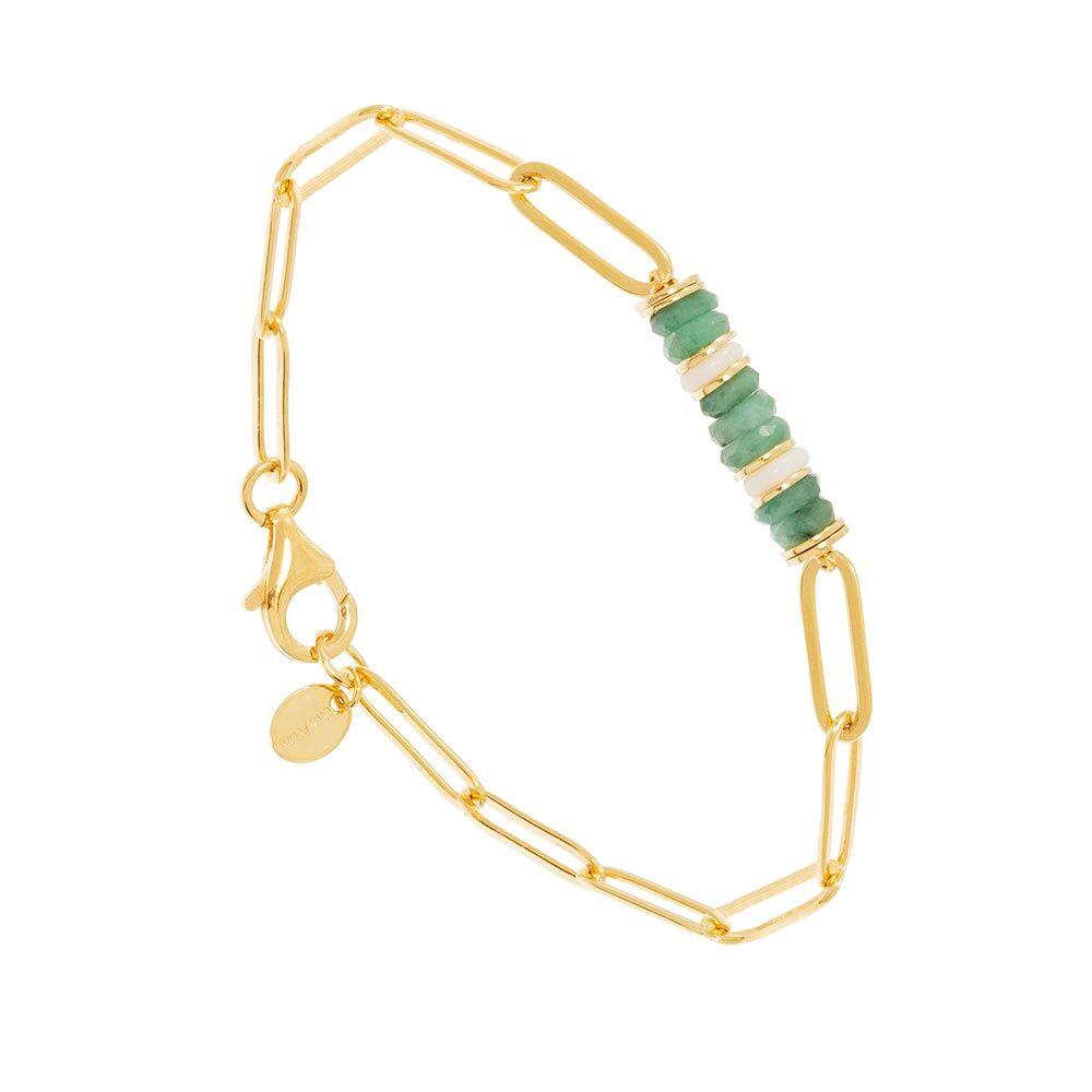 Jollia Bracelet maillons pierres opale verte (doré) - Une A Une