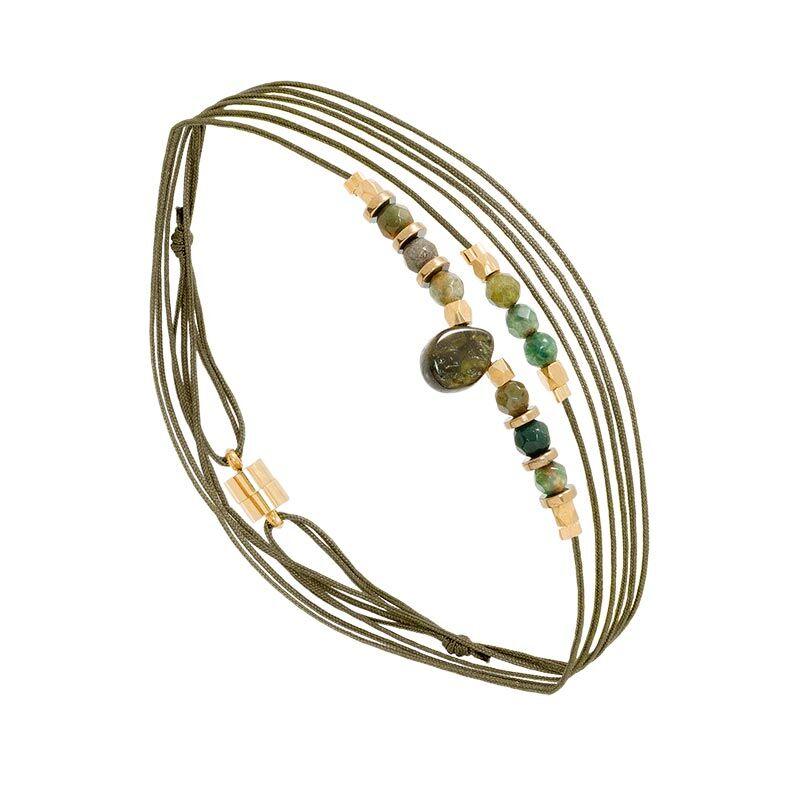 Jollia Bracelet multitours pierre goutte (agate indienne) - By Garance