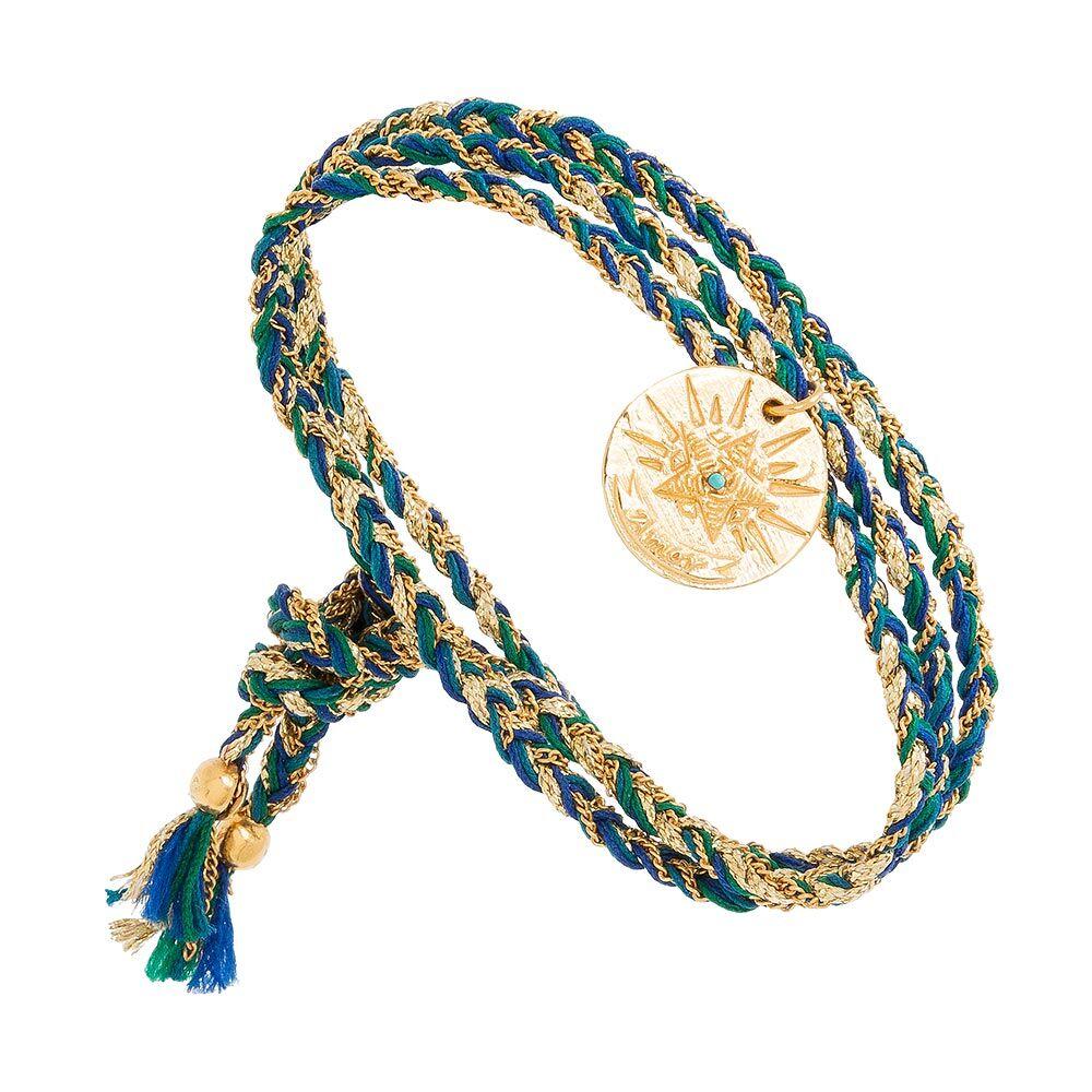 Jollia Bracelet multi-tours médaille (bleu) - Une A Une