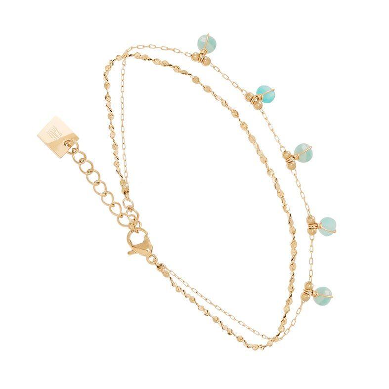 Zag Bijoux Bracelet 2 rangs pierres amazonite (doré), Zag bijoux Zag Bijoux