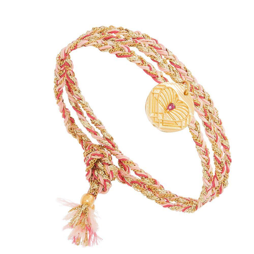Jollia Bracelet multi-tours médaille (rose) - Une A Une