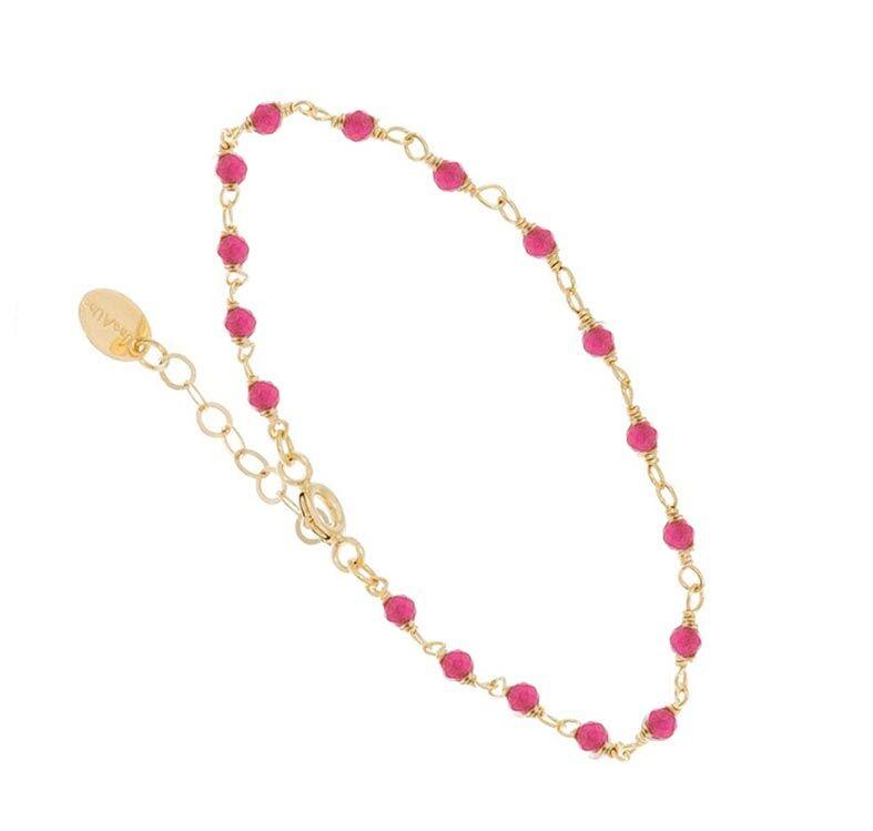 Une A Une Bracelet perles fines framboise (doré), Une A Une Une A Une