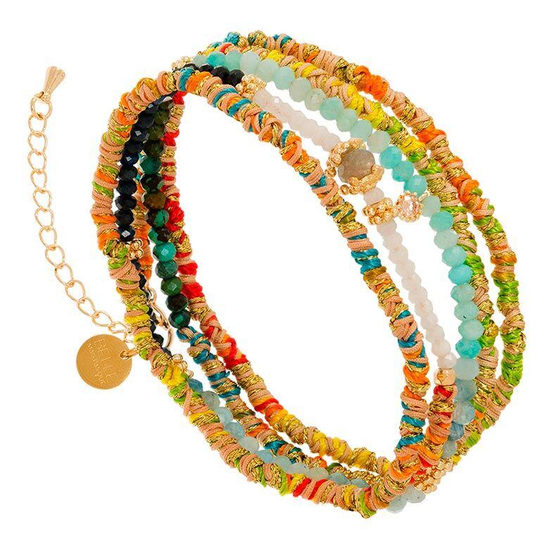 Jollia Bracelet multi-tours tissé et pierres (multicolore) - Belle mais pas que
