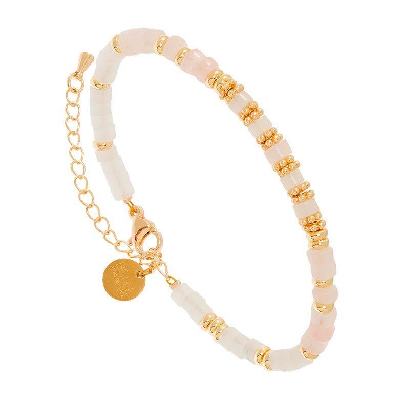 Jollia Bracelet surfeur pierres (jade blanc/cristal rose) - Belle mais pas que