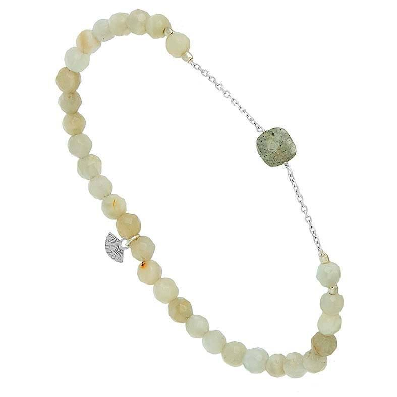 Jollia Bracelet briolette (pierre de lune et calcédoine verte - Senzou