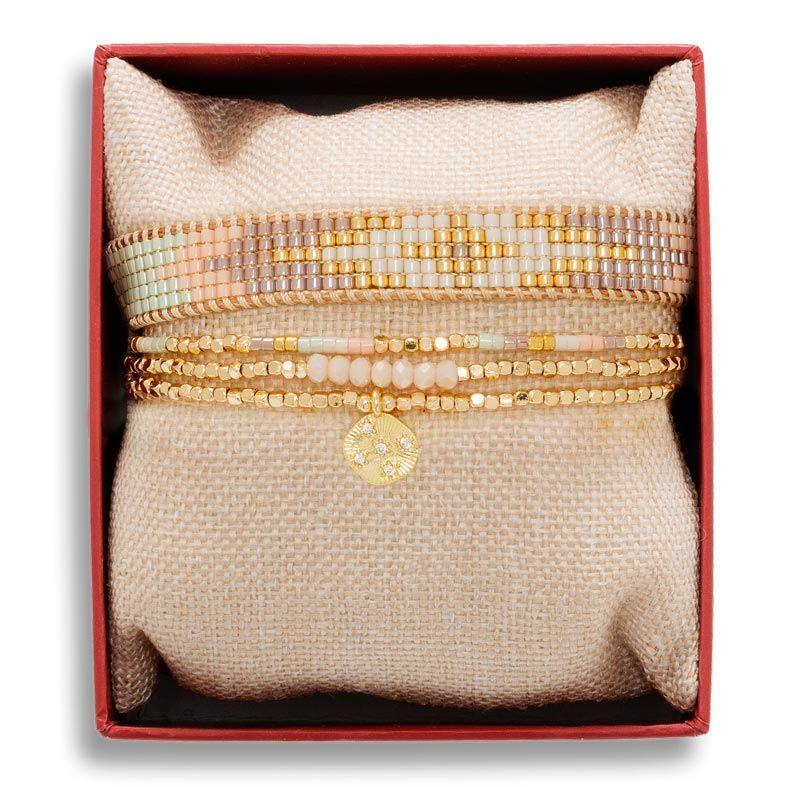 Jollia Coffret de bracelets pastel sorbet (rose) - Belle mais pas que