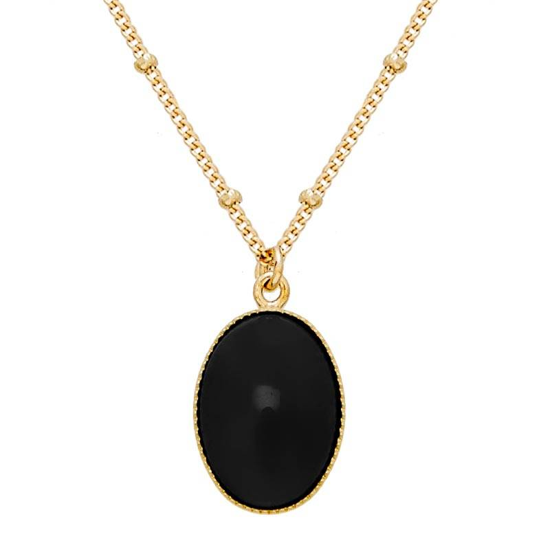 Jollia Collier pierre ovale agate noire (doré) - Viadoli