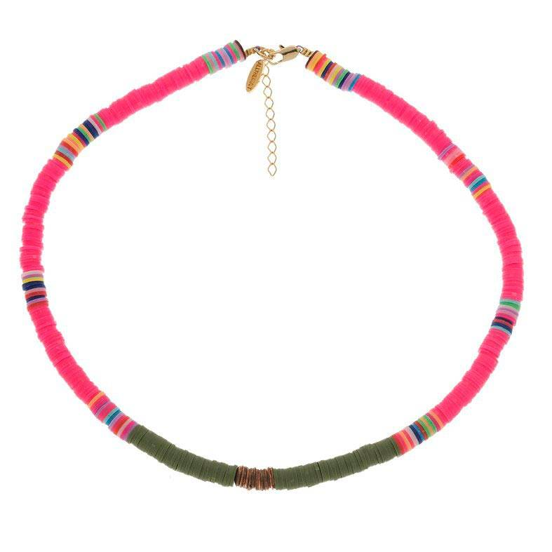 All The Must Collier surfeur perles rose/vert (plaqué or), All the must All The Must