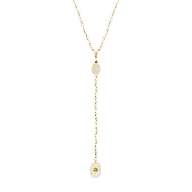 Jollia Sautoir chapelet perles fines blanches (doré) - Une A Une