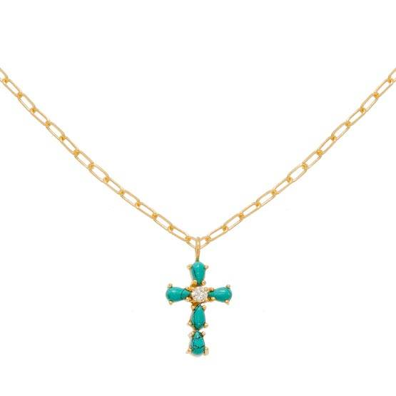 Jollia Collier croix turquoise et zircons (doré) - Une A Une