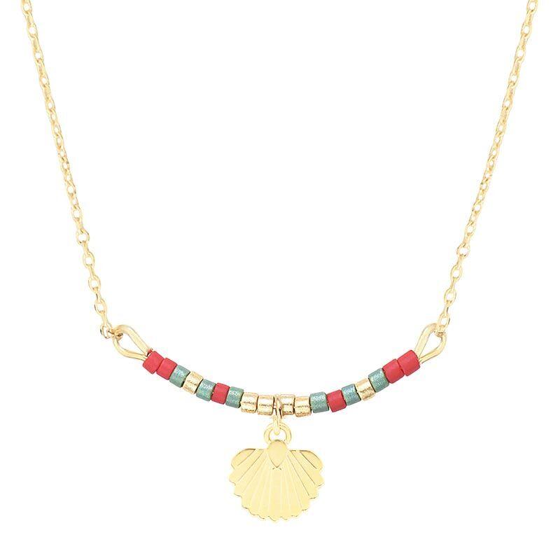 Les Dissonances Collier coquillage perles vertes/framboises (doré), Les Dissonances Les Dissonances