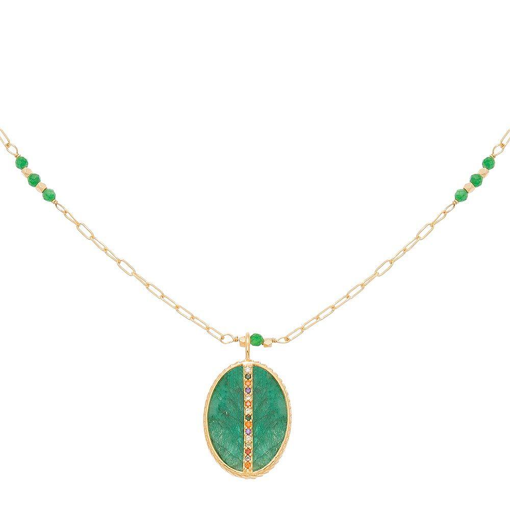 Jollia Collier long pendentif émeraude zircon (doré) - Une A Une