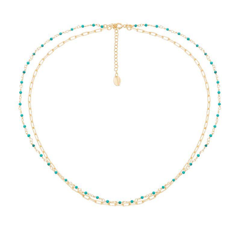 Jollia Collier deux rangs maillons et pierres fines (turquoise) - Une A Une