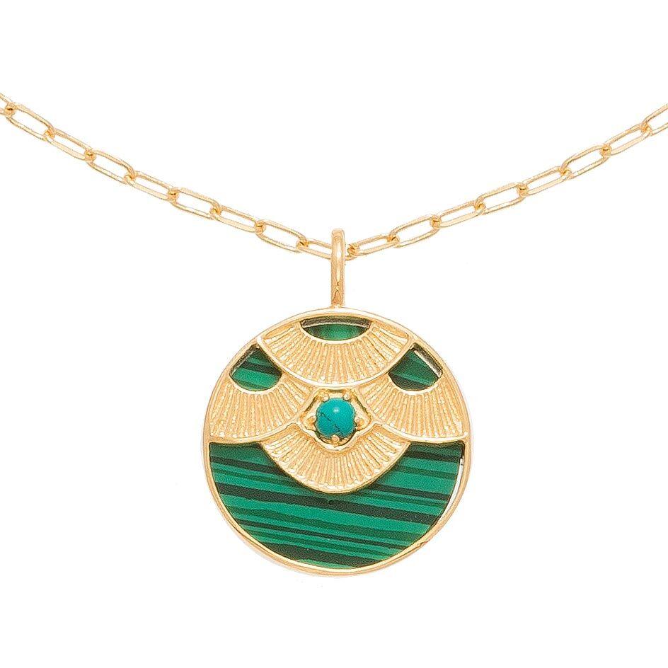 Jollia Collier médaille aztèque (malachite/turquoise) - Une A Une