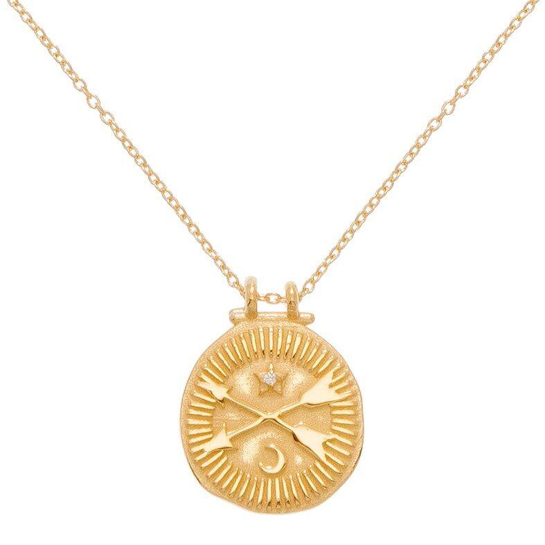 Jollia Collier pendentif médaille flèches et zircon (doré) - Une A Une