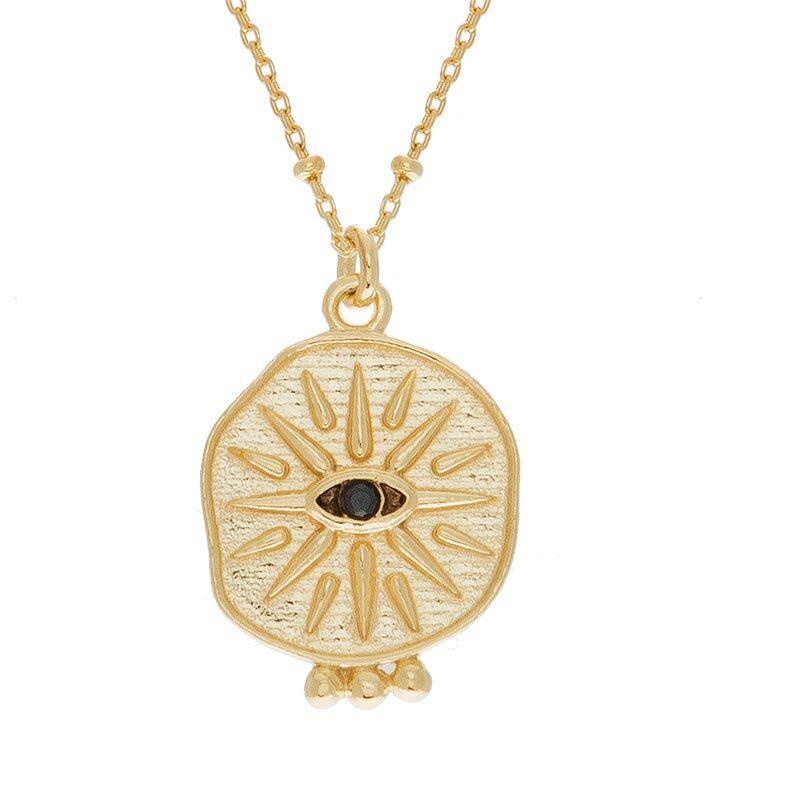 Jollia Collier oeil zircon noir et chaîne billes (doré) - Une A Une