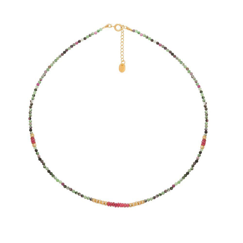 Jollia Collier multi pierres et zircons (rubis zoïsite) - Une A Une