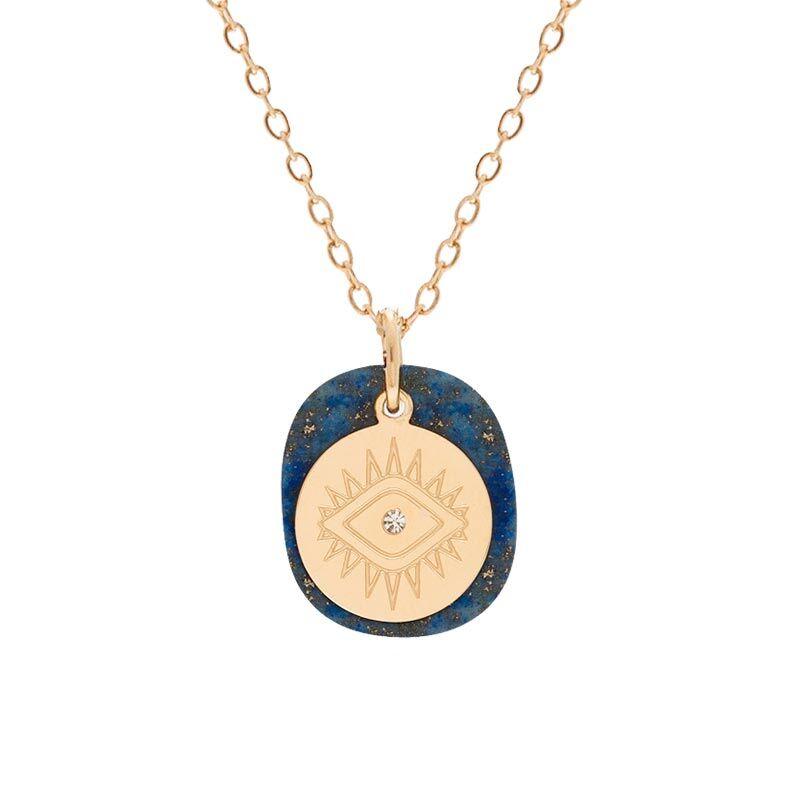 Jollia Collier double médaille bleu et oeil (doré) - Zag Bijoux