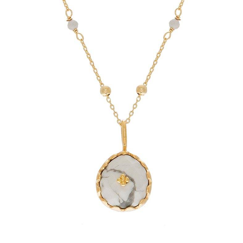 Une A Une Collier pendentif marbré et chaîne billes (howlite blanche), Une A Une Une A Une