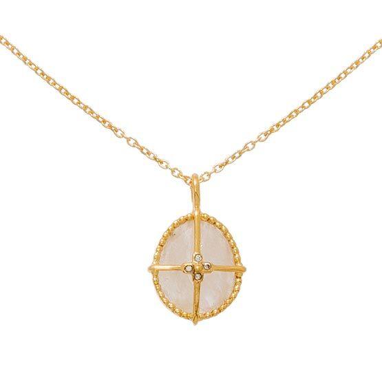 Jollia Collier pendentif pierre et croix (pierre de lune) - Une A Une