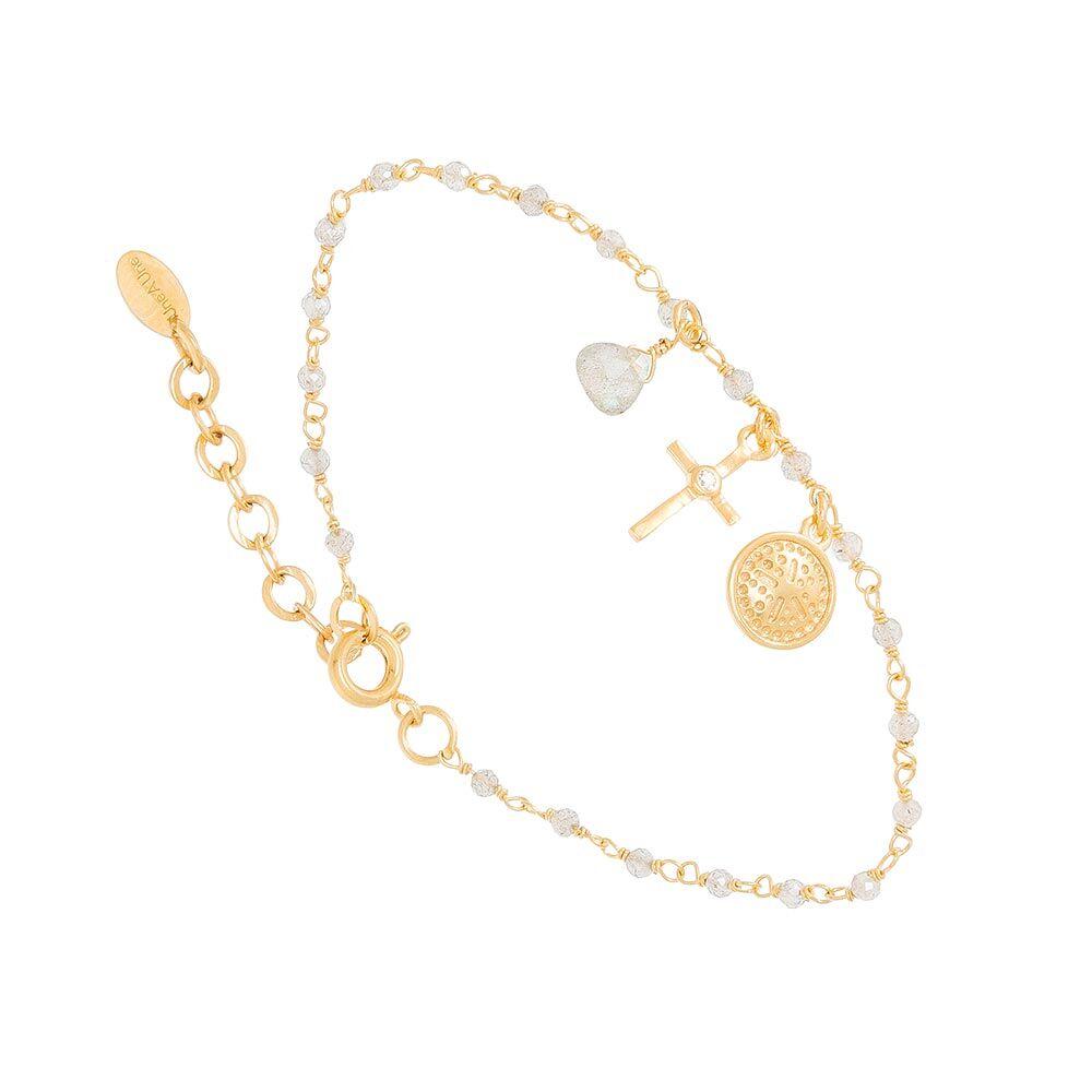 Jollia Bracelet perles fines et charms (labradorite) - Une A Une