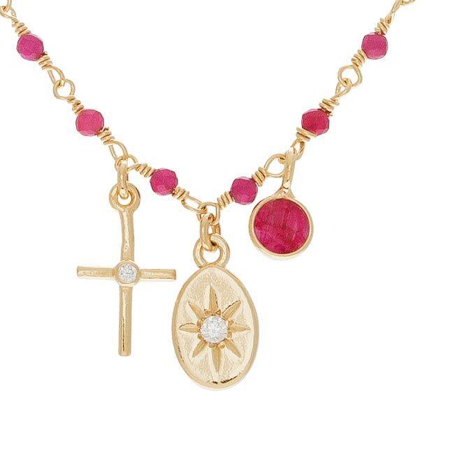 Jollia Collier charms et perles fines (rubis) - Une A Une