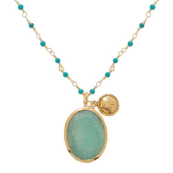 Jollia Collier perles et pendentif (amazonite) - Une A Une