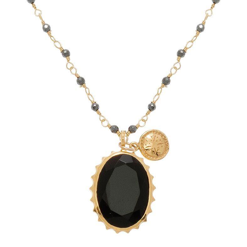 Jollia Collier perles et pendentif (onyx) - Une A Une