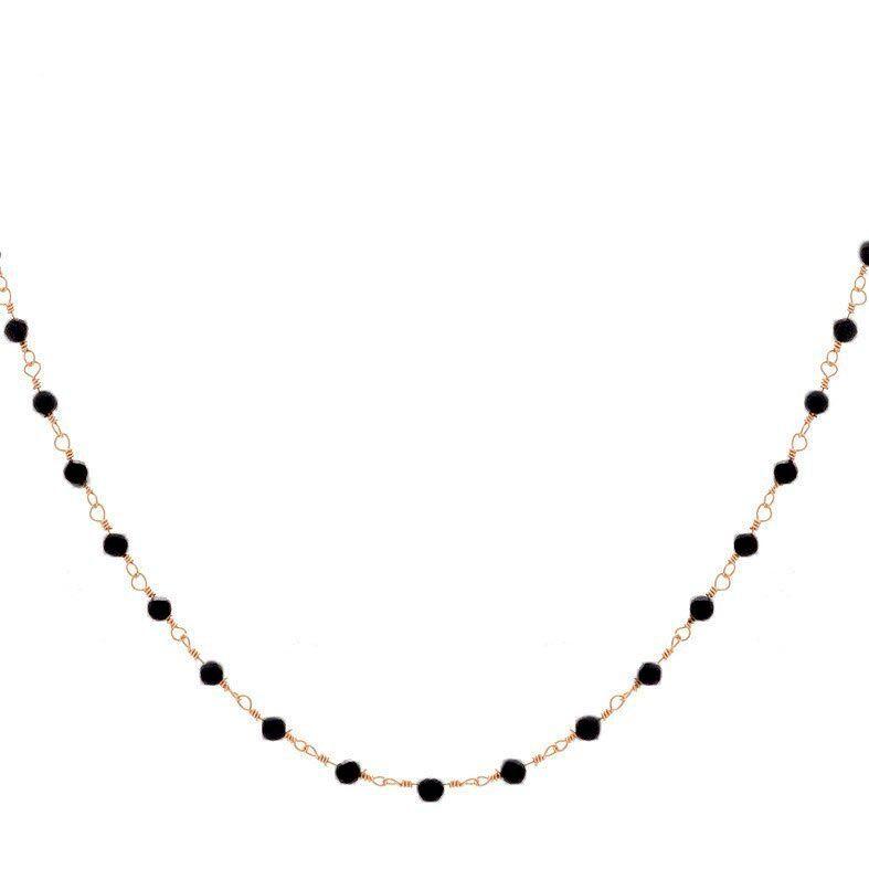 Jollia Collier perles fines noires (doré) - Une A Une