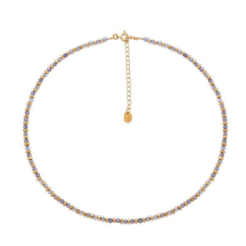 Jollia Collier pierres grises et écrous (doré) - Une A Une