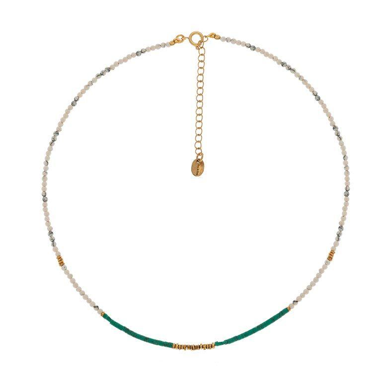 Jollia Collier perles fines (howlite/turquoise) - Une A Une