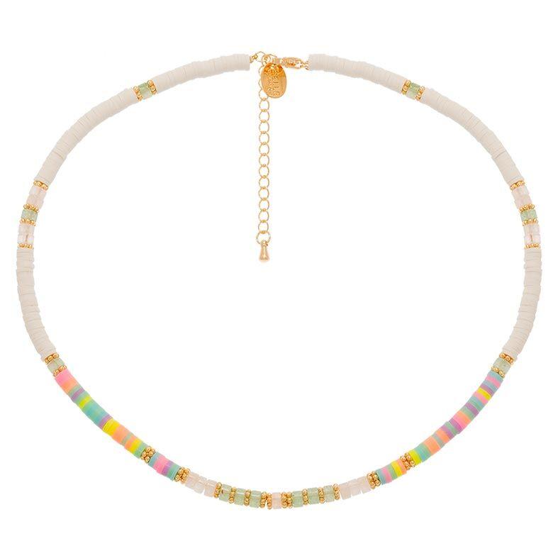 Jollia Collier surfeur disques perles et pierres (fluo/pastel) - Belle mais pas que