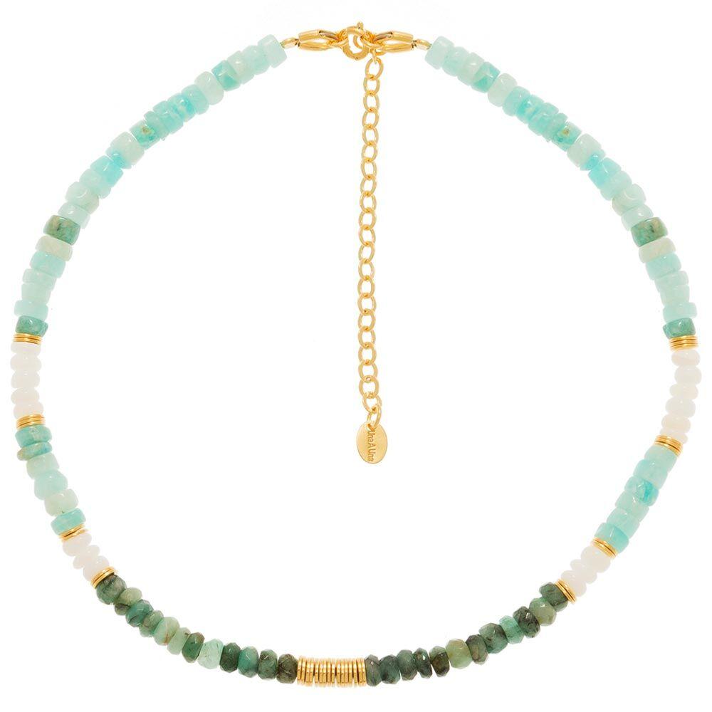 Jollia Collier surfeur pierres fines (opale verte) - Une A Une