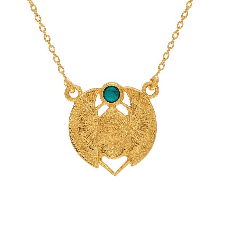 Jollia Collier médaille scarabée (turquoise) - Une A Une