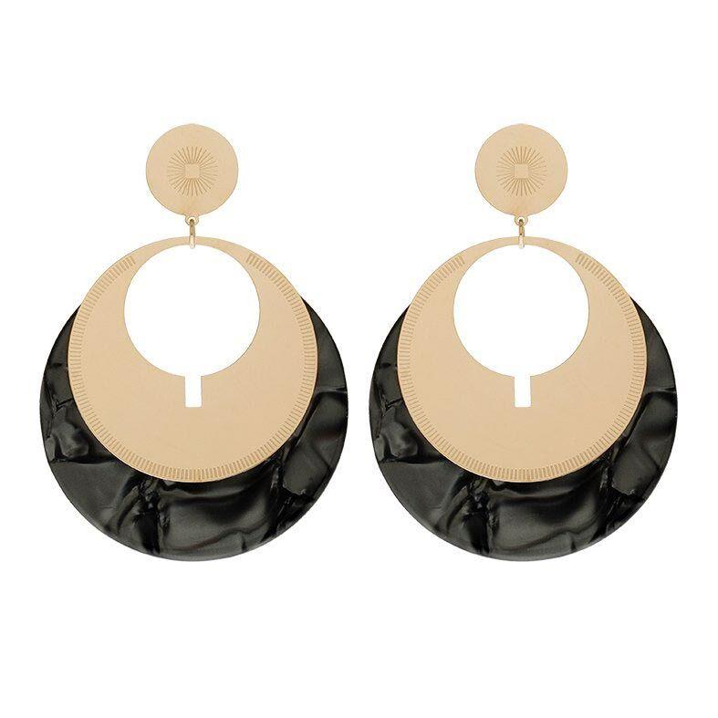 Jollia Grosses boucles d'oreilles noires (doré) - Zag Bijoux