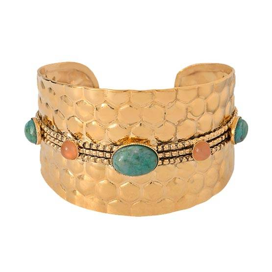 Jollia Manchette nid d'abeilles pierres (turquoise/corail) - Dear Charlotte