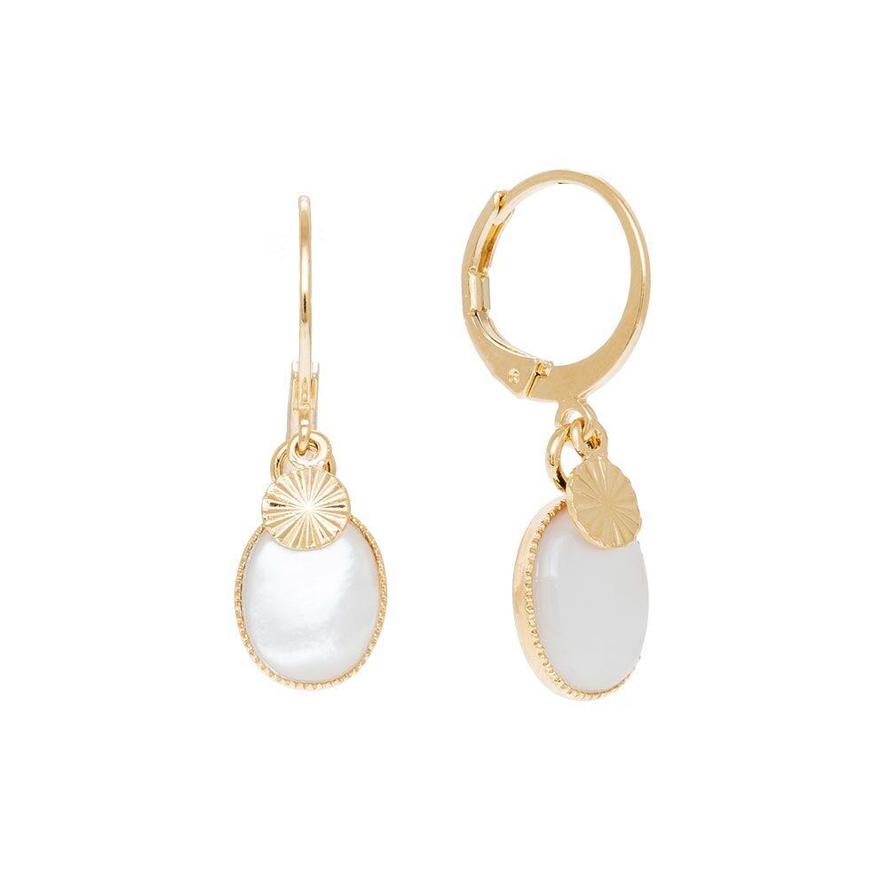 Jollia Mini créoles pierre ovale et soleil (nacre) - Aurélie Joliff