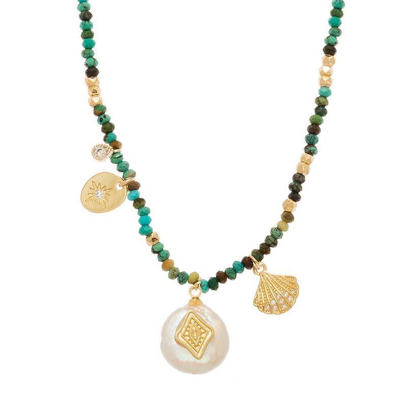 Jollia Sautoir tissé breloques et pierres (turquoise africaine) - Belle mais pas que
