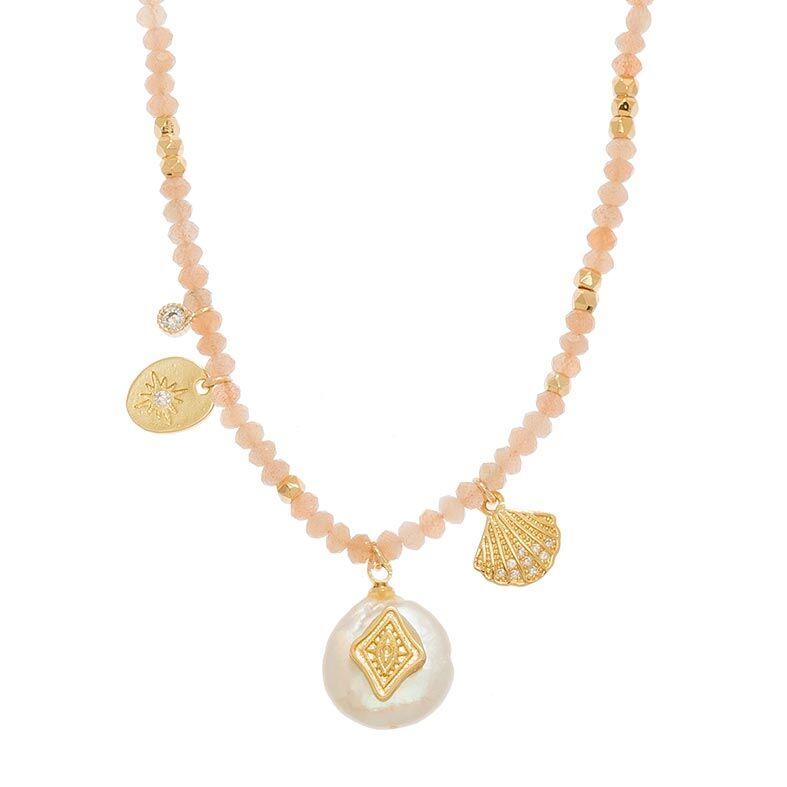 Jollia Sautoir tissé breloques et pierres (pierre de lune rose) - Belle mais pas que