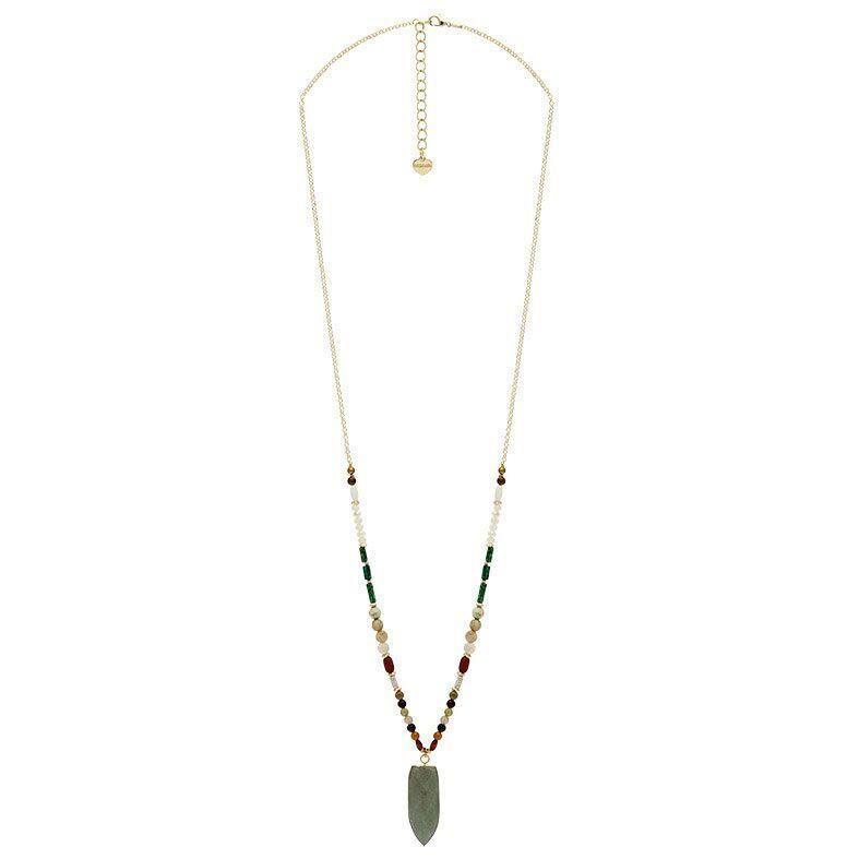 Jollia Sautoir pendentif Pierre et perles (doré/vert/bois) - Nakamol