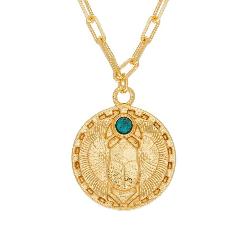 Jollia Sautoir médaille scarabée (turquoise) - Une A Une