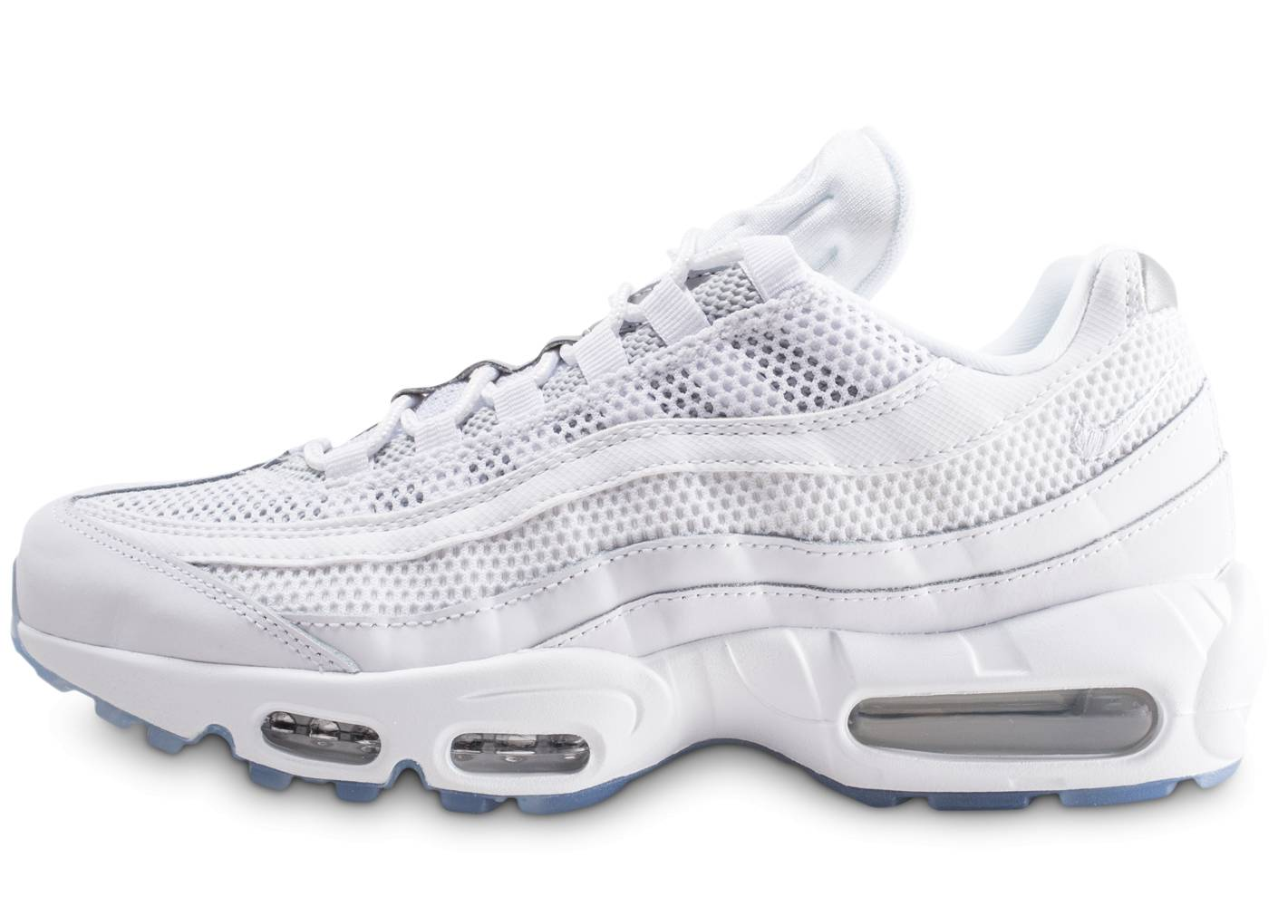 Nike Homme Air Max 95 Essential Blanche Et Argent Baskets 41