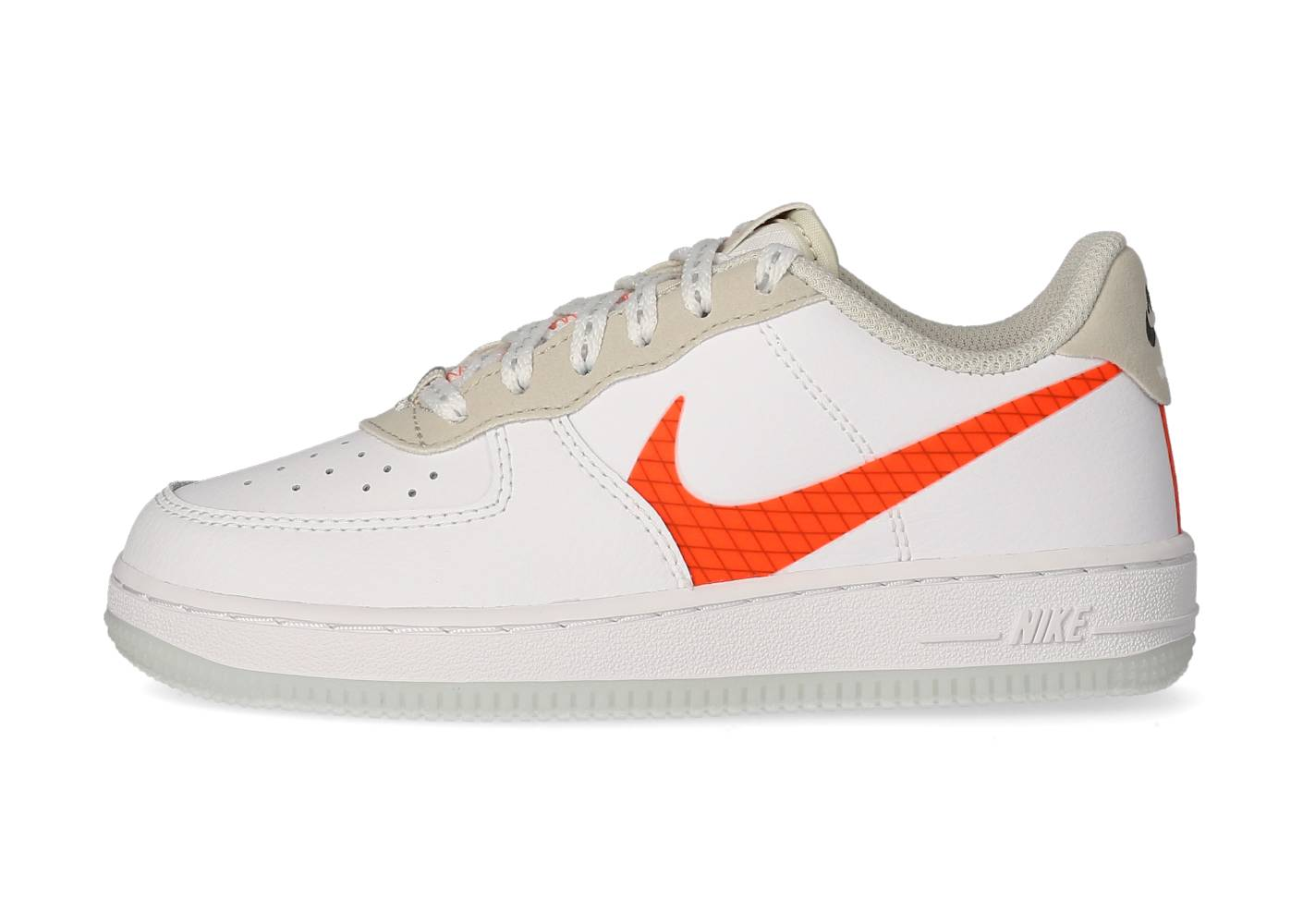 Nike Baskets Nike Force 1 Lv8 Blanche Et Orange Enfant 35