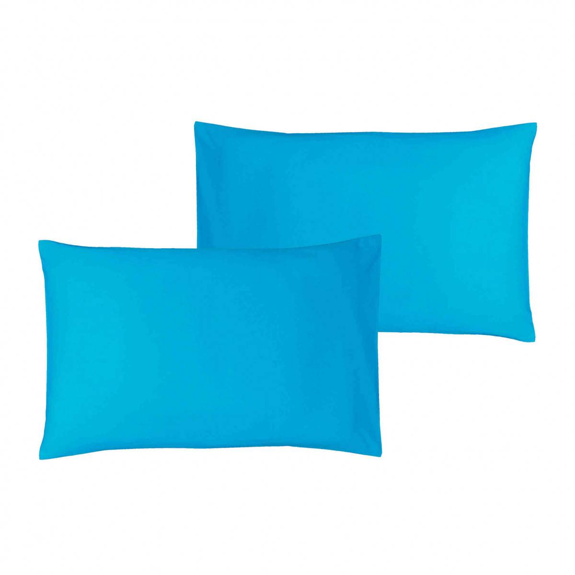 Ptit Basile Lot de 2 taies d'oreiller bébé coton bio bleu 40x60