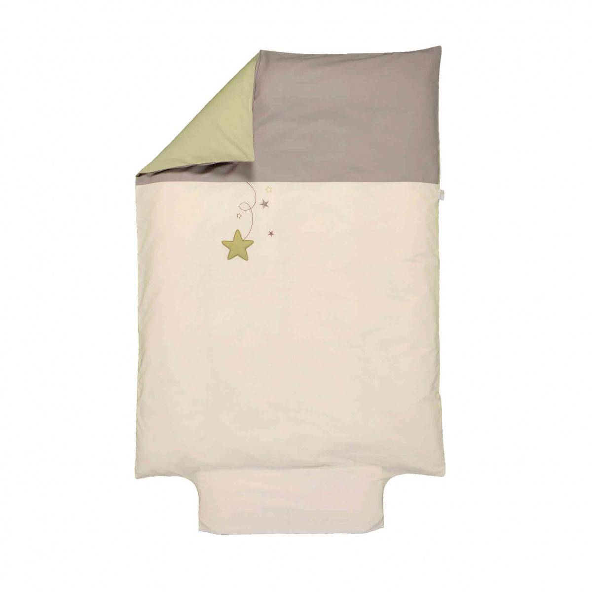 Ptit Basile Housse de couette bébé coton bio Pluie d'étoiles écru 100x140 cm