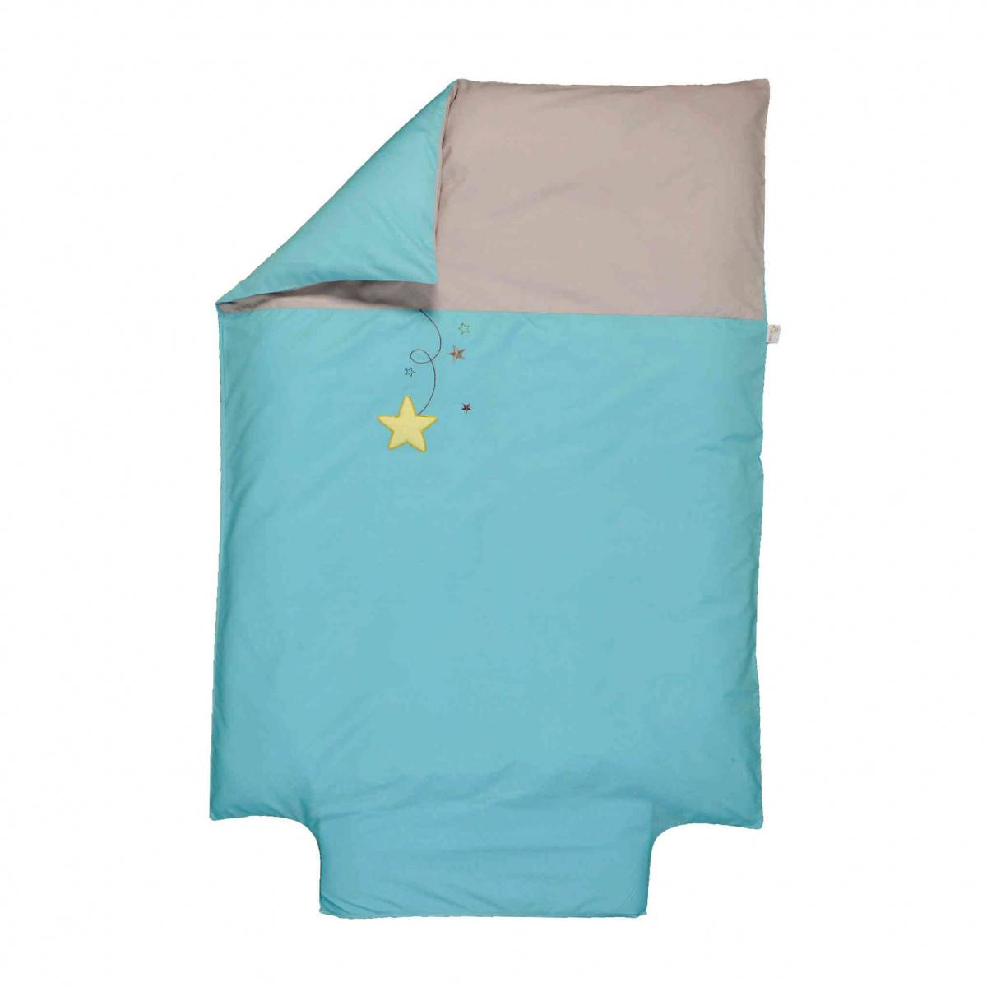 Ptit Basile Housse de couette bébé coton bio Pluie d'étoiles turquoise 100x140 cm