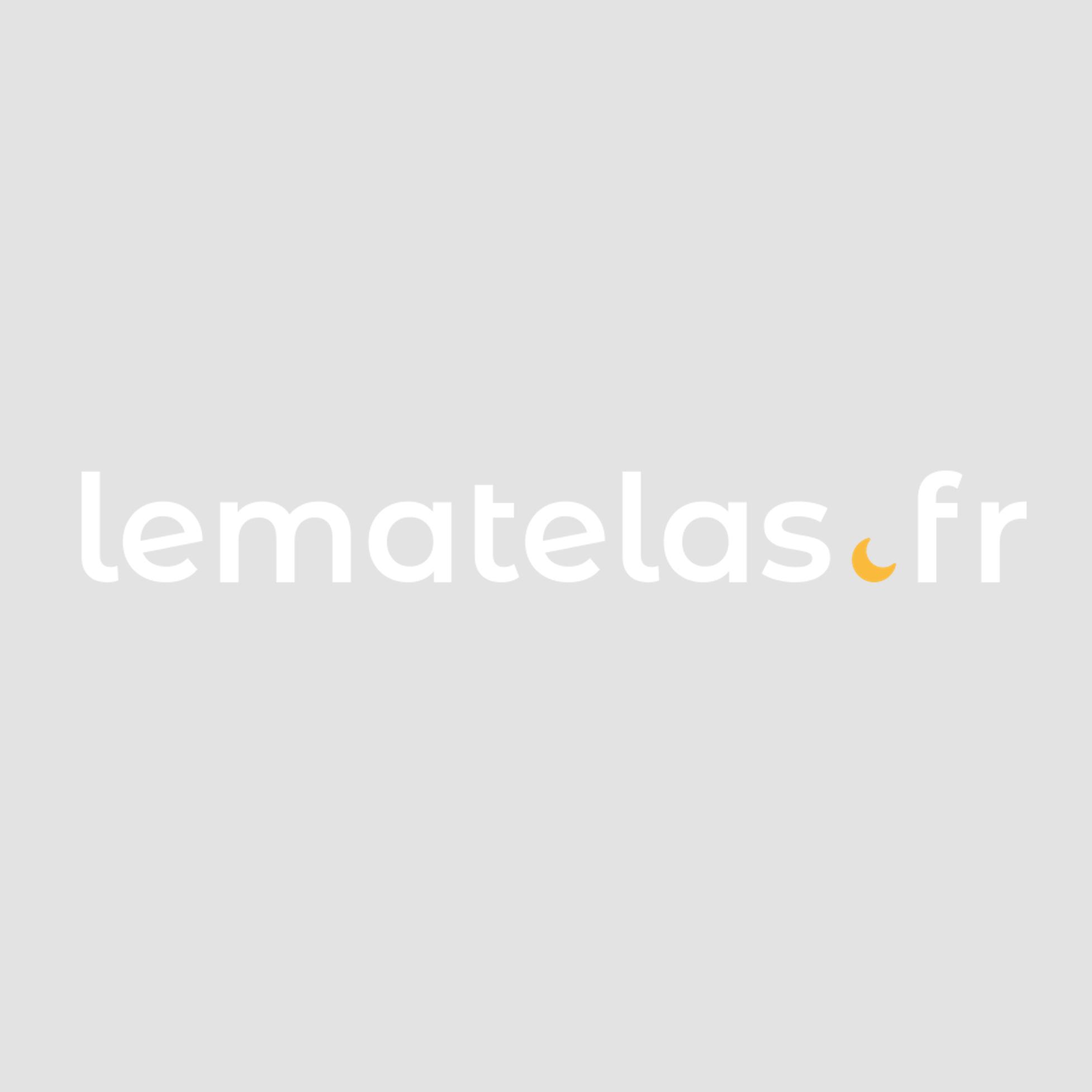 Terre de Nuit Lit 2 tiroirs avec tête de lit étagères en bois imitation chêne clair et noir 140x190 - LT14018