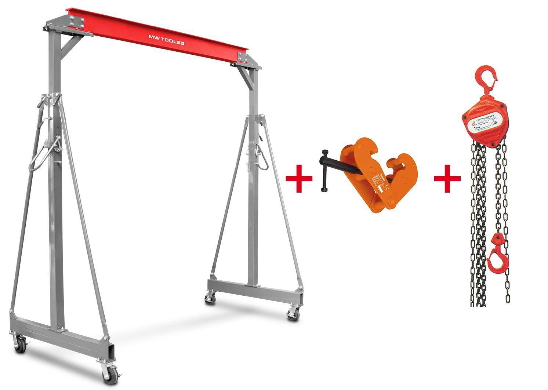 Mw-tools Grue à portique 3T + palan à chaînes avec pince à poutre MW-Tools PTLK3-SET3000