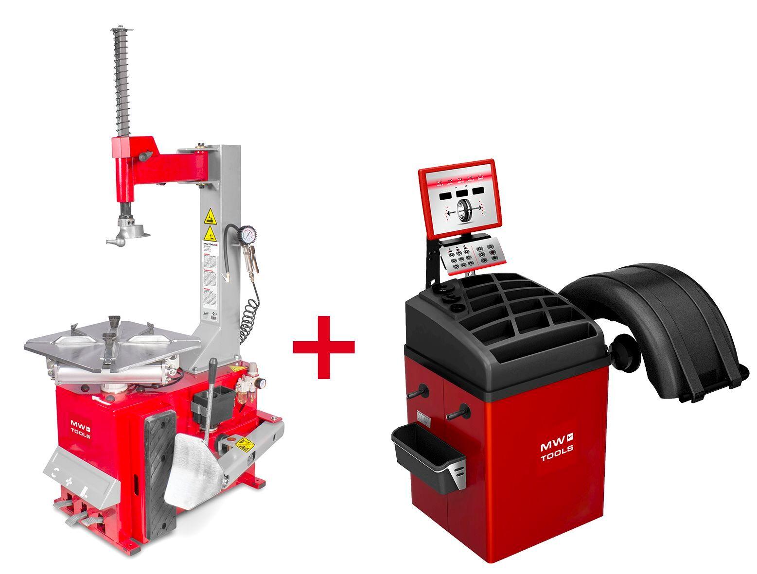 Mw-tools Pack démonte-pneu BT100 3x380V et équilibreuse de roues BB350 220V MW-Tools BT100 SET3
